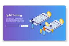Free A-B Comparison. Split Testing Isometric Concept. Royalty Free Stock Images - 119209199