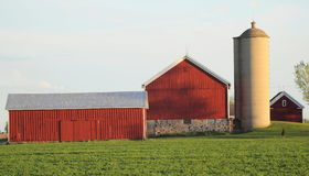 A Barn And Farm House With Green Field Royalty Free Stock Photo