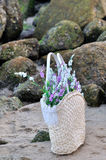 A Basket Full Up With Lilac Flower Stock Photography