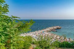 Free A Beach And A Pier In Nessebar Ancient City, One Of The Major Seaside Resorts On The Bulgarian Black Sea Coast. Nesebar, Nesebr Is Royalty Free Stock Images - 144604839