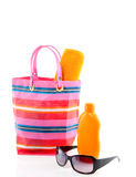 A Beachbag With Sunscreen Royalty Free Stock Photo