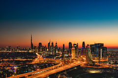 A Beautiful Skyline View Of Dubai, UAE As Seen From Dubai Frame At Sunset Royalty Free Stock Photos