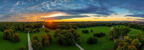 Free A Beautiful Start In The Day. Sunset Over Munichs English Garden As An Aerial Panorama. Stock Photography - 160759942