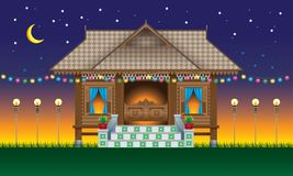 A Beautiful Traditional Wooden Malay Style Village House. Royalty Free Stock Photography