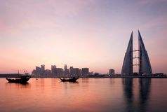 A Beautiful View Of Bahrain Skyline From Bahrain Bay Royalty Free Stock Photography