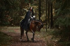 Free A Beautiful Warrior Girl With A Sword Wearing Chainmail And Armor Riding A Horse In A Mysterious Forest. Stock Images - 102853364
