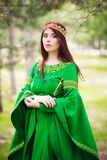 A Beautiful, Young, Red-haired Girl In A Green Medieval Dress With Long Sleeves, With A Golden Crown, Standing On The Grass, In A Stock Photography