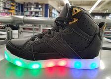 Free A Black Shoe With Light Up Soles Stock Photography - 185984992