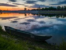 Free A Boat Stranded On The Bank Of The Sava River During A Colorful Sunset In Bosanski Brod Royalty Free Stock Image - 197770636