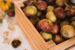 Free A Box Of Rustic Sweet Apples On A Table At Home. Autumn Still Life Stock Images - 160229854