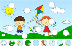 A Boy And A Girl Playing In The Meadow And Launching A Kite. Com Royalty Free Stock Photo