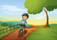 A Boy Going To The Farm With His Bike Royalty Free Stock Photography