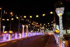 Free A Bridge Illuminated By Street Lamps At Night. Beautiful Street Lighting Stock Photography - 161373972