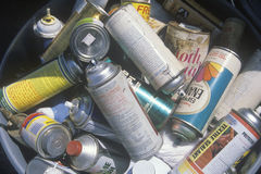A Bucket Full Of Empty Aerosol Cans Royalty Free Stock Photo