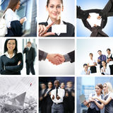 A Business Collage With Young People Shaking Hands Royalty Free Stock Images