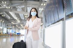 Free A Business Woman Is Wearing Protective Mask In International Airport, Travel Under Covid-19 Pandemic, Safety Travels, Social Stock Images - 192814084