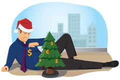 A Businessman Decorates The Christmas Tree With The Currencies Stock Photo