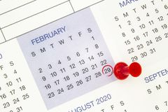 Free A Calendar On February 29 On A Leap Year, Leap Day Stock Photos - 168115613