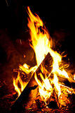A Campfire Lighting The Dark Stock Images