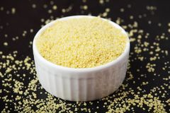 Free A Ceramic Bowl With Couscous Royalty Free Stock Image - 163855746
