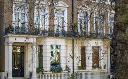 A Classic Victorian Home In London With White Paint Stock Images