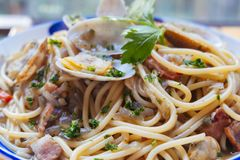 Free A Close-up Of Clam Spaghetti Royalty Free Stock Photos - 168619708