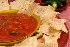 Free A Closeup Of A Bowl Of Salsa With Tortilla Chips And Jalapeno Pe Royalty Free Stock Photo - 1728565