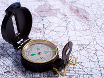 Free A Compass On A Map Stock Photo - 5535950