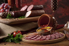 A Composition Of Different Sorts Of Sausages Stock Photography