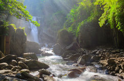 Free A Cool Refreshing Waterfall In A Mysterious Forest With Sunlight Shining Through The Lavish Greenery Stock Photography - 62457142