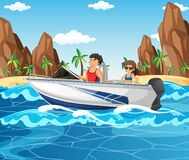 Free A Couple Driving Speed Boat In The Beach Scene Royalty Free Stock Image - 212849526