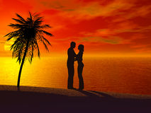Free A Couple Embracing Each Other At Sunset. Royalty Free Stock Photo - 3863225