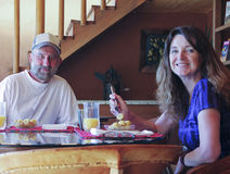 Free A Couple Having Bananas And Orange Juice Stock Photo - 90895110