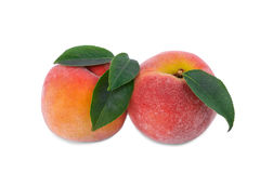 Free A Couple Of Juicy Pink-yellow Peaches With Green Leaves Isolated On A White Background. Healthy Summer Snacks. Stock Image - 97749261