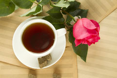 A Cup Of Tea And Rose Stock Images