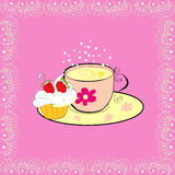 A Cup Of Tea With Cupcake Royalty Free Stock Image