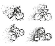 Free A Cyclist Rides A Bicycle Particle Divergent Silhouette. Stock Photo - 97091720