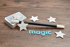 Free A Deck Of Cards With A Magician Wand, Stars And The Word Magic Stock Photography - 112398342