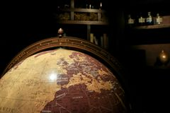 Free A Detail Of An Old Wooden Globe Royalty Free Stock Image - 107321606