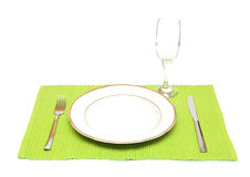 A Dinner Plate, Knife, Fork And Wine Glass Stock Photography
