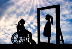 Free A Disabled Girl And Her Healthy Reflection In The Mirror Royalty Free Stock Images - 123571969