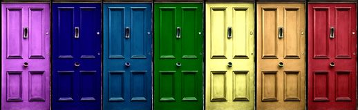 Free A Few Colorful Doors In Vintage Style As A Banner. Pink, Navy Blue, Blue, Green, Yellow, Orange, Red Door Royalty Free Stock Images - 149474369