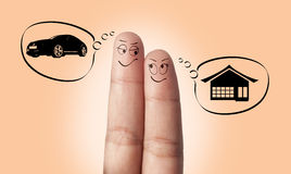 A Finger Couple In Love And House Stock Photo