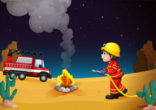 A Fireman In The Desert Royalty Free Stock Images