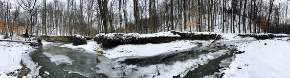 Free A Frozen Panorama Of A Creek In The Cleveland Metroparks - Parma, Ohio Stock Images - 110011564