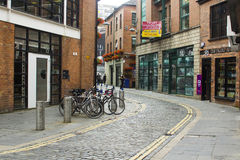 Free A Full Cycle Stand In A Side Street In Belfast`s Popular Cathedral Quarter In Northern Ireland Stock Image - 98221741