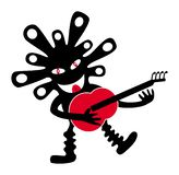 A Funny Little Man With A Smile, A Red Tongue And A Guitar. Royalty Free Stock Photography