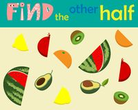 Free A Game For Kids To Develop Logic. Pick Up The Second Half. Vector Illustration. Stock Photos - 156898083
