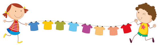 A Girl And A Boy Holding The String With Hanging Clothes Royalty Free Stock Image