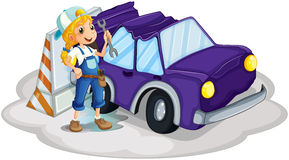 A Girl Fixing The Broken Violet Car Royalty Free Stock Photo